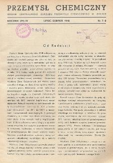 Przemysł Chemiczny. Organ Chemicznego Instytutu Badawczego i Polskiego Towarzystwa Chemicznego. Rocznik (27) IV. Nr 7 - 8