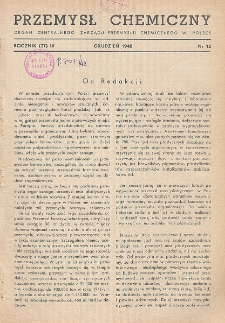 Przemysł Chemiczny. Organ Chemicznego Instytutu Badawczego i Polskiego Towarzystwa Chemicznego. Rocznik (27) IV. Nr 12