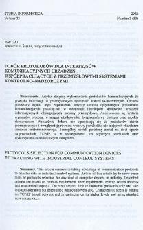 Dobór protokołów dla interfejsów komunikacyjnych urządzeń współpracujących z przemysłowymi systemami kontrolno-nadzorczymi