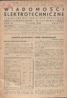 Wiadomości Elektrotechniczne, R. 9, Zeszyt 1