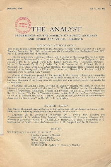 The Analyst : the journal of The Society of Public Analysts and other Analytical Chemists : a monthly journal devoted to the advancement of analytical chemistry. Vol. 73. No. 862
