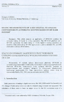 Static measurements of 16-bit digital to analog converters in automatic system based on HP-81200 system