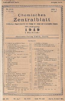 Chemisches Zentralblatt : vollständiges Repertorium für alle Zweige der reinen und angewandten Chemie, Jg. 120, Hlb. 1, Nr 15/16
