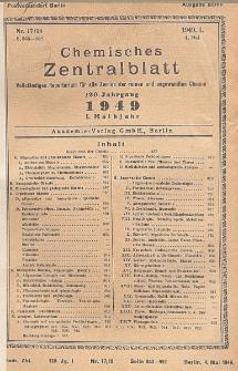 Chemisches Zentralblatt : vollständiges Repertorium für alle Zweige der reinen und angewandten Chemie, Jg. 120, Hlb. 1, Nr 17/18
