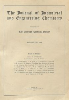 The Journal of Industrial and Engineering Chemistry, Vol. 8, Subject Index