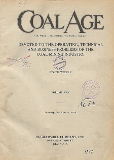 Coal Age : devoted to the operating, technical and business problems of the coal-mining industry, Vol. 27, No. 8