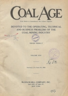 Coal Age : devoted to the operating, technical and business problems of the coal-mining industry, Vol. 31, No. 20