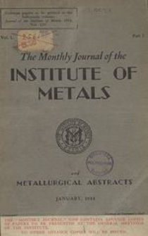 Monthly Journal of the Institute of Metals and Metallurgical Abstracts, Vol. 2, Part 8