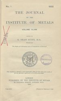 The Journal of the Institute of Metals, Vol. 50, No. 3, Contents