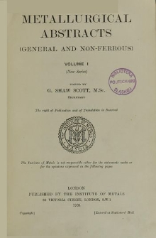Metallurgical Abstracts : general and non-ferrous, Vol. 1, Subject Index
