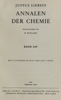 Justus Liebigs Annalen der Chemie. Band 547